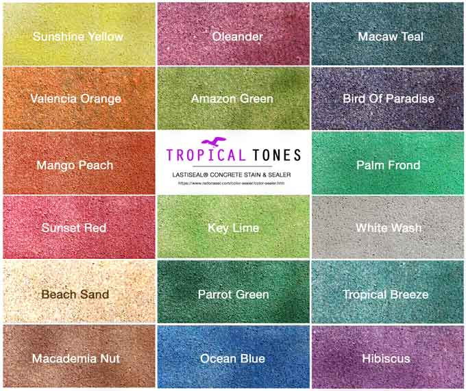 Penetrating concrete stain and waterproofing sealer for Tropical interior paint colors