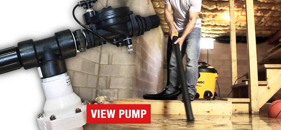 High and Dry Water-Powered Backup Sump Pumps